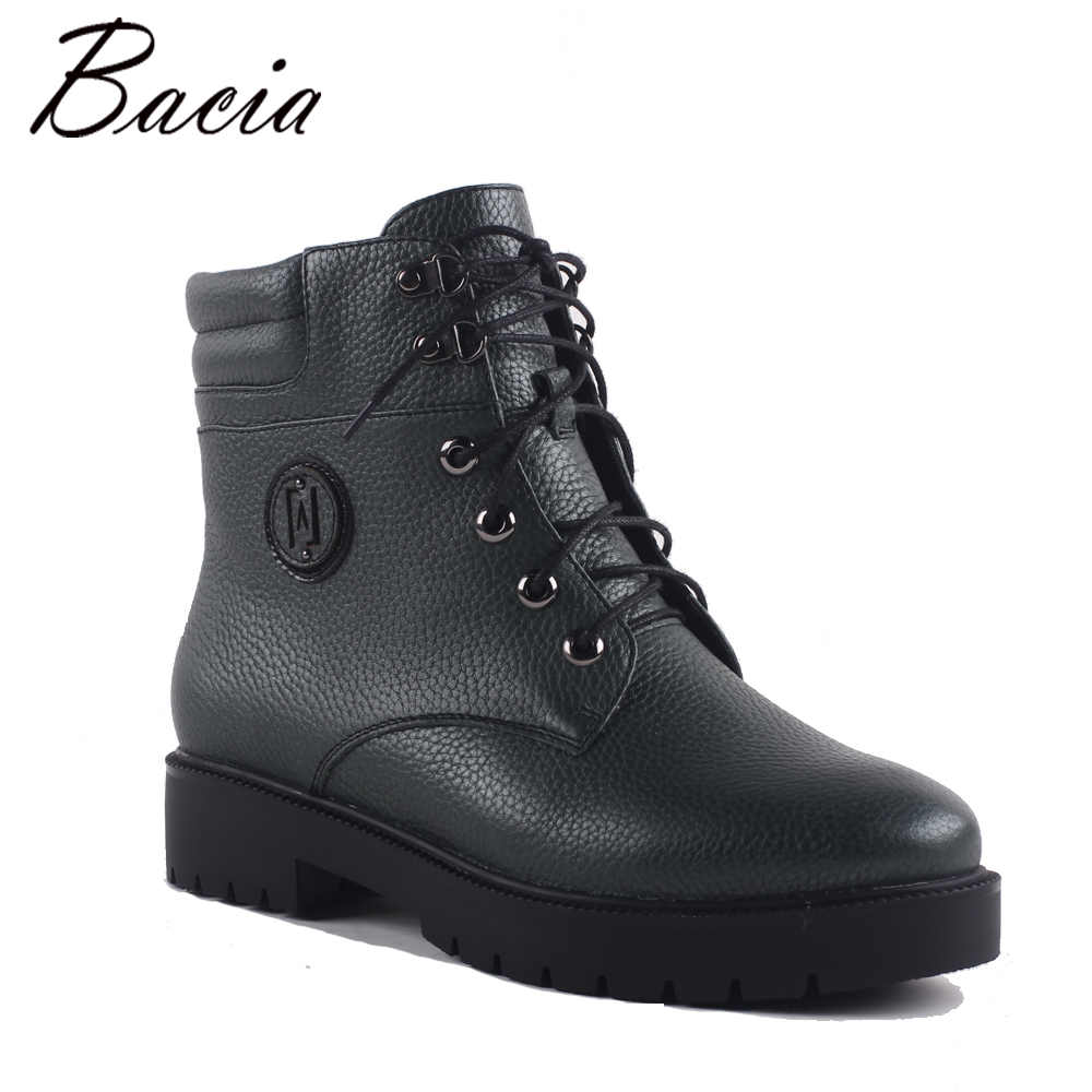 Bacia Winter Mid-Calf Warm Wool Fur Boots Genuine Full Grain Leather Snow Boots Shoes Women High Quality Med Heels Boots SA071 bacia winter boots for women full grain leather boots heels 5 8cm wool fur