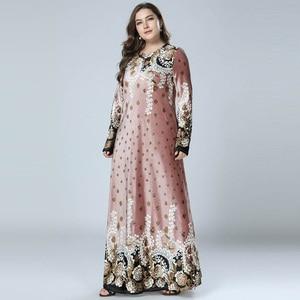 Image 3 - נשים חורף שמלות הדפסת Bronzing קטיפה העבאיה מוסלמי מקסי שמלת האסלאמי ערבית Abayas ארוך שרוול שמלת פקיסטני דובאי M 4XL