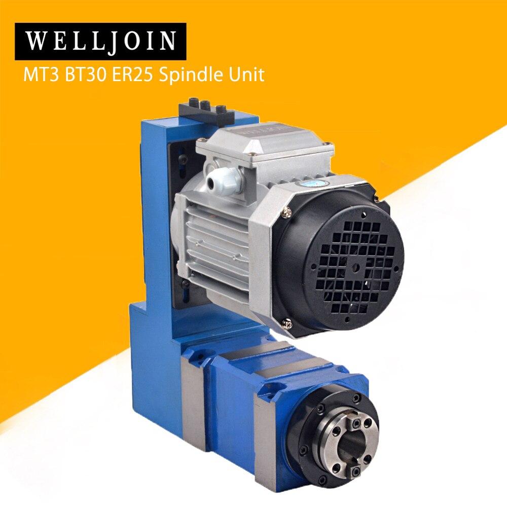 Spindle Unit MT3 BT30 ER25 Power Head 8000rpm with 370W Induction Motor V-belt Drive for CNC Drilling Milling Engraving