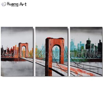 Hand-painted Abstract Knife Landscape Group of Oil Paintings on Canvas Modern Golden Gate Bridge Oil Painting for Decoration