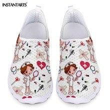 ¡Novedad! Zapatillas de deporte instantáneas con dibujo de enfermera Doctor para mujer, Zapatos planos transpirables de verano con malla ligera
