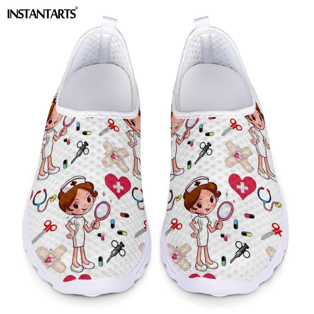 INSTANTARTS New Cartoon Nurse Doctor Print Women Sneakers Slip On Light Mesh Shoes Summer Breathable Flats Shoes Zapatos planos image