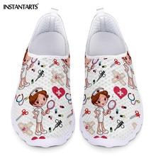 Instantarts 新漫画ナース医者プリント女性スニーカーライトメッシュ靴夏通気性のフラットシューズ zapatos プラーノス