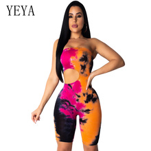 все цены на YEYA Summer Tie Dye Bodycon Rompers Womens Jumpsuit Off the Shoulder Hollow Out Bodysuit Club Party Playsuit Combinaison Femme