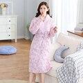 10 Pçs/lote 100% de algodão Novo Inverno Quente Pijamas Senhora Pijamas Mulheres Homewear Roupões de Banho Roupão De Banho Das Mulheres frete grátis