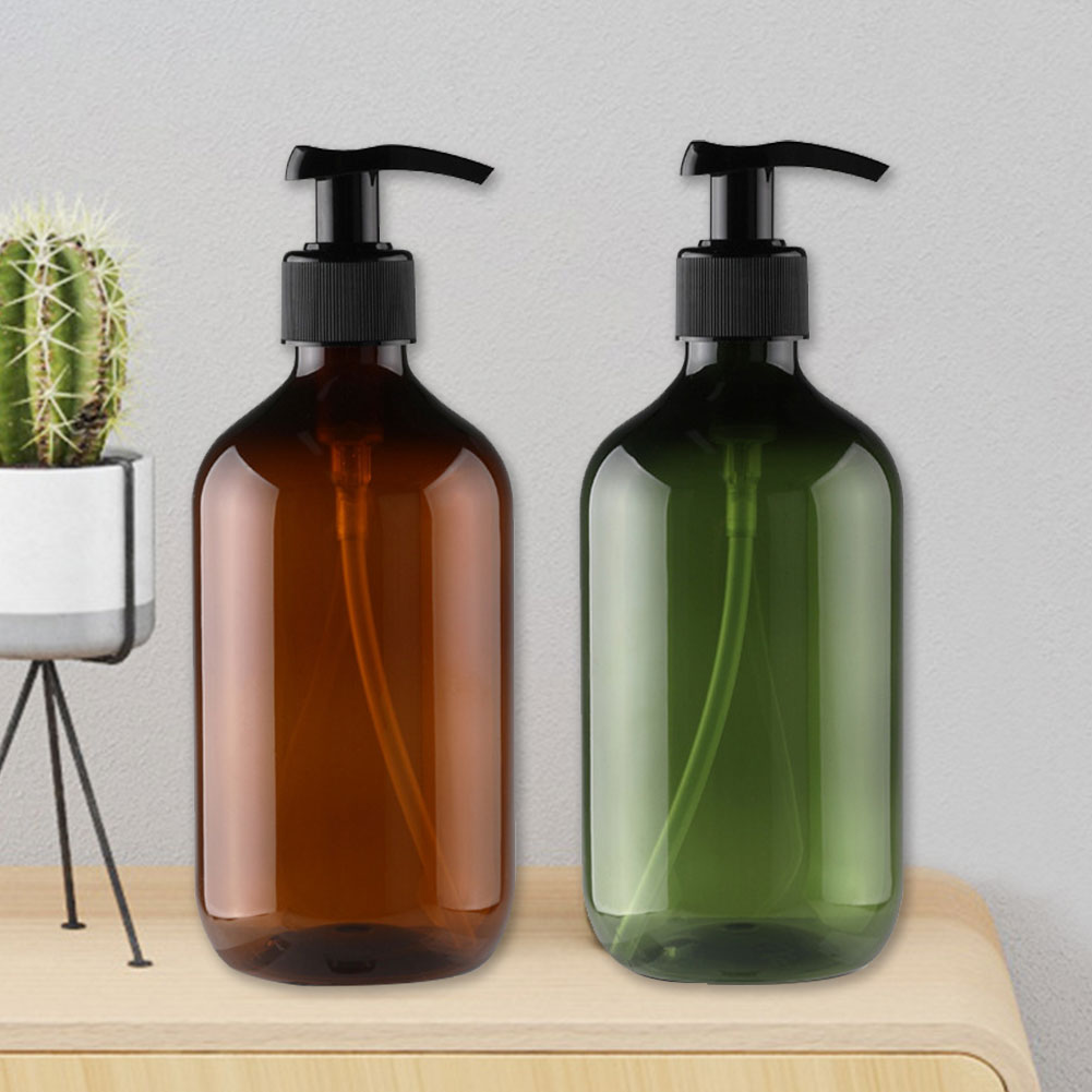 2PCS With Pumps Lotion Shampoo Container Soap Dispenser Liquid Foam Kitchen Round Shoulder Countertops Bathroom Storage Bottle