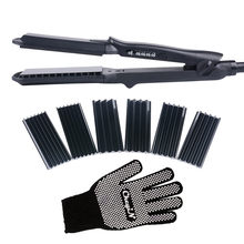 4 In 1 Multifunction Straight Curly Hair Perm Crimper Curlers Roller Corrugated Hair Straightener Flat Iron Large To Small Waver(China)