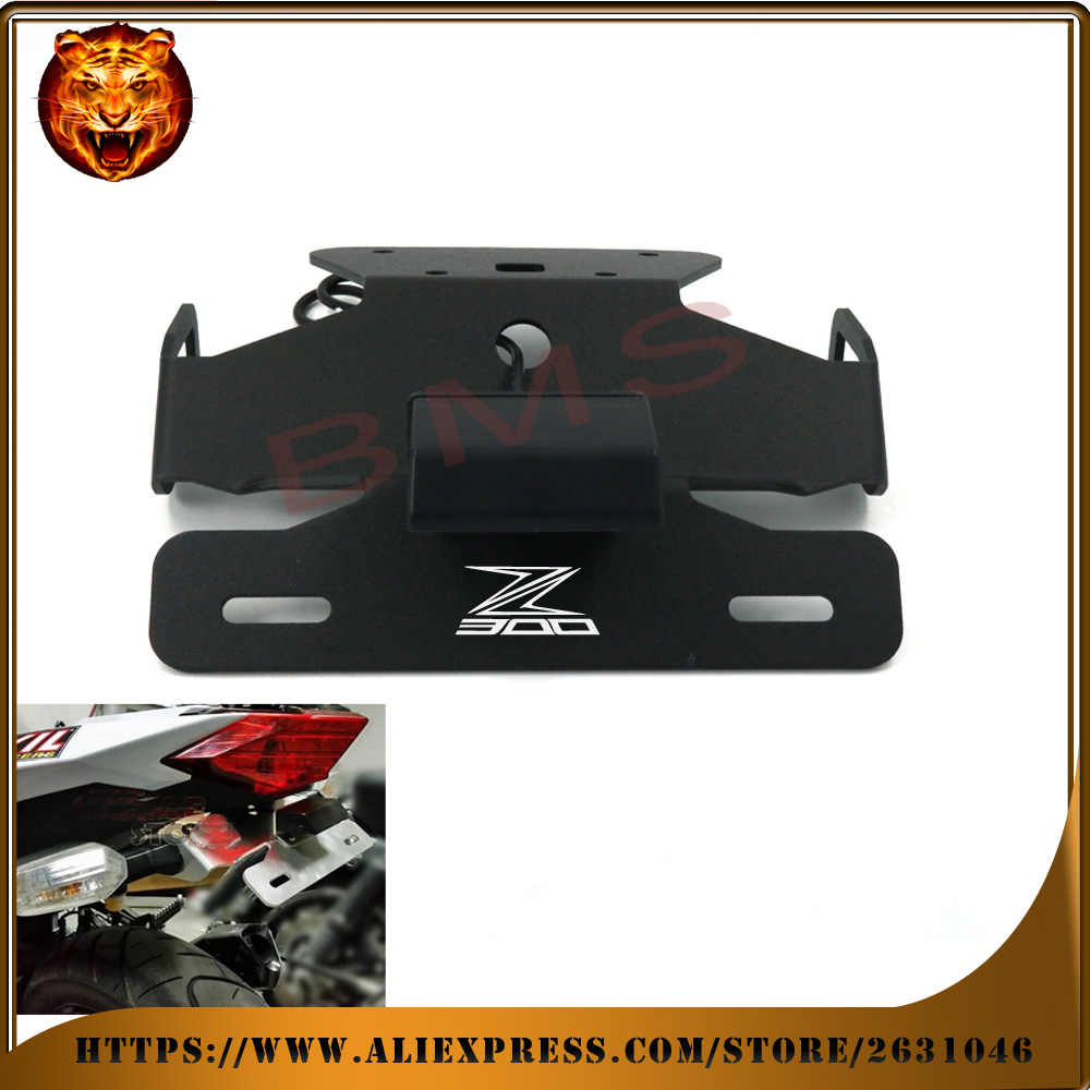Motorcycle Tail Tidy Fender Eliminator Registration License Plate Holder bracket mount LED Light For KAWASAKI Z300 300 2015 2016 maluokasa motorcycle fender eliminator tail tidy for suzuki hayabusa gsx1300r 2008 2009 motor license plate tail light bracket