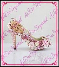 Aidocrystal 2016 New Bridesmaids Woman Wedding Bridal Shoes Peep Toe High Heel pink Pearls Rhinestone Evening Pumps