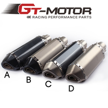 GT Motor - Universal 35-51mm Motorcycle exhaust Modified Scooter Exhaust Muffle GY6 Dirt bike exhaust for HONDA R1 R6 FZ6 Z1000