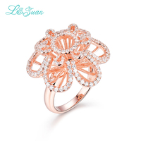I&Zuan Diamond Jewelry Rings for Women 925 Sterling Silver Fine Jewelry Rose Gold White Stone Fashion Rings Party Accessory 2736