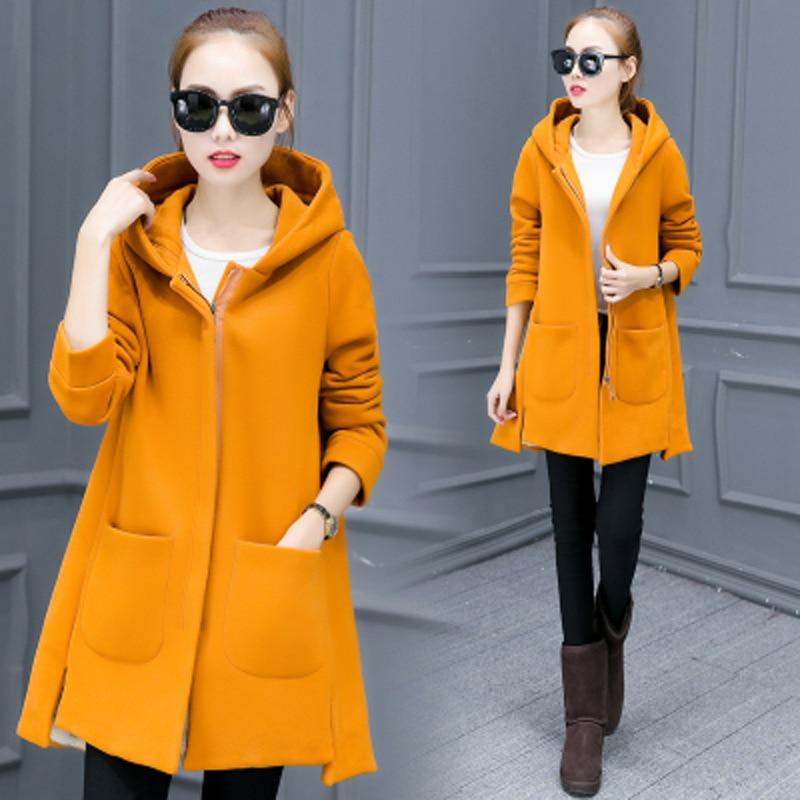 Autumn Winter Women's Fleece Jacket Coats Female Long Hooded Coats Outerwear Warm Thick Female Red Slim Fit Hoodies Jackets #6