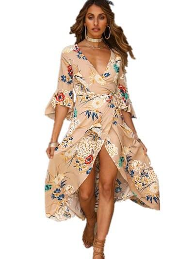 b22fe63fb6 Online Shop Summer dress 2018 Vintage Floral print Casual Boho Long maxi Dress  women Elegant sexy V-Neck robe Bohemian Beach Dresses | Aliexpress Mobile