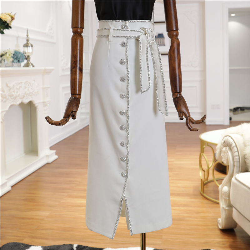 TOP QUALITY Fashion 2019 Designer Runway Skirt Women's Strass Beading Slit Skirt-in Skirts from Women's Clothing    1