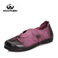 WooPoem 2016 New Spring Autumn Women S Shoes Full Grain Leather Flats Flowers Casual Comfortable Breathable