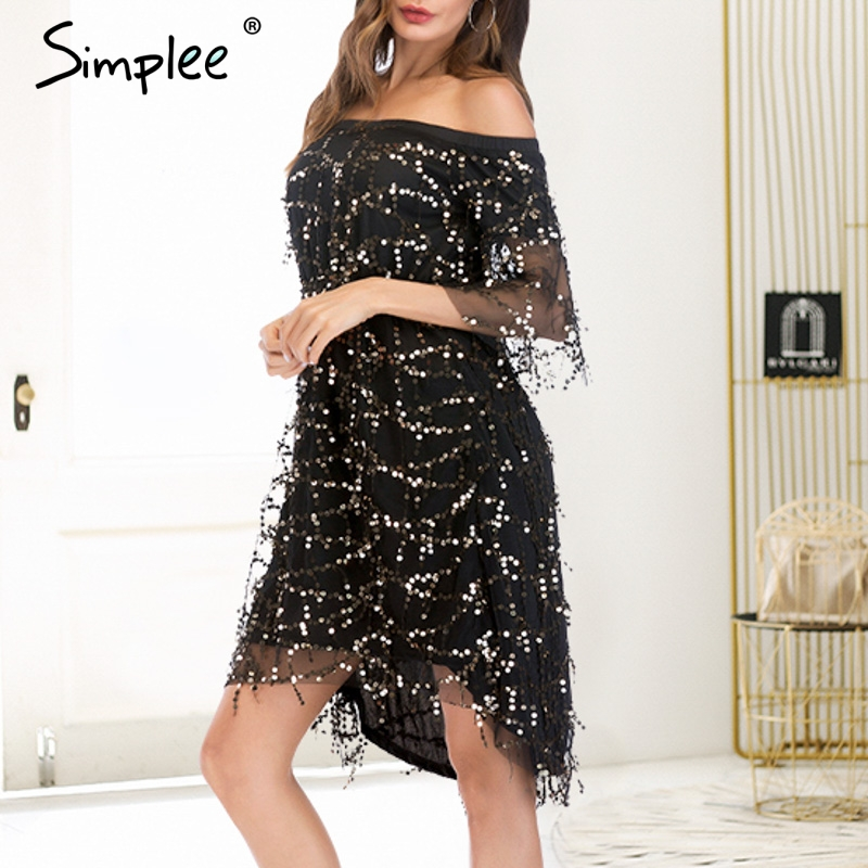 CUERLY Sexy tassel sequined women dress Off shoulder lining mesh autumn dresses Club party shiny christmas ladies vestidos 2019 in Dresses from Women 39 s Clothing