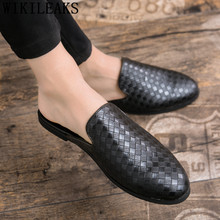945d3d189 Mulas sapatos chinelos de couro dos homens designer de marca de luxo  formais homens sapatos 2019 sapatos oxford para os homens s.