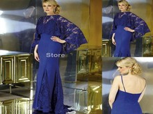 2016 specially designed royal blue collar lace mermaid dress sexy spaghetti straps fashion lace cape PL12 mother party dress