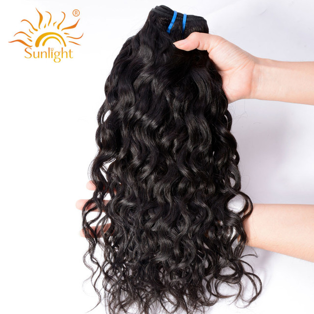 """Indian Water Wave Human Hair Extensions 8""""-28"""" Natural Black 1/3/4 Pieces  Non-Remy Hair Weave Bundles Sunlight Human Hair Weft"""