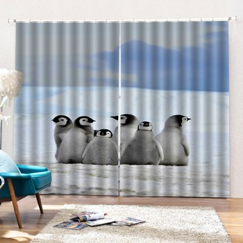 Home Blackout Window Curtains For Living room Bedroom Curtains Arctic animals Stereoscopic 3D Curtain 2019