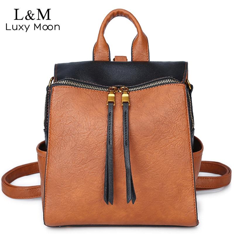 все цены на Luxy moon Backpack Women PU Leather Shoulder Bag Female Teenage Girls Bag 2018 Patchwork Backpacks Multifunction Mochila XA517H онлайн