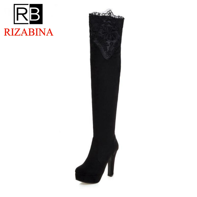 RizaBina Size 33-43 Sexy Winter Shoes Women Thick High Heel Over Knee Boots Women Lace Flower Thick Plaform Winter Warm Botas