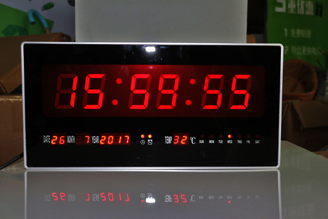 Large Digital Calendar Clock Electronic LED Wall Clock with Temperature DATE and Week Support Hourly Chime 8 groups alarms