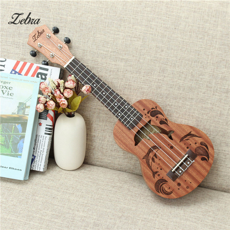 Zebra 21 inch 15 Frets Soprano Ukulele Uke 4 Nylon Strings Sapele Rosewood Guitar Dolphin Pattern Universal Acoustic Instrument все цены