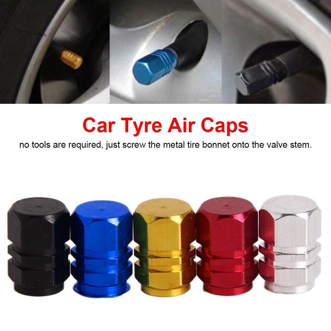 Hot Selling New 4pcs/pack Car Tire Valve Stem Caps Colorful Black/Silver/Red/Gold/Blue Car Caps Aluminum Theftproof Valve Caps