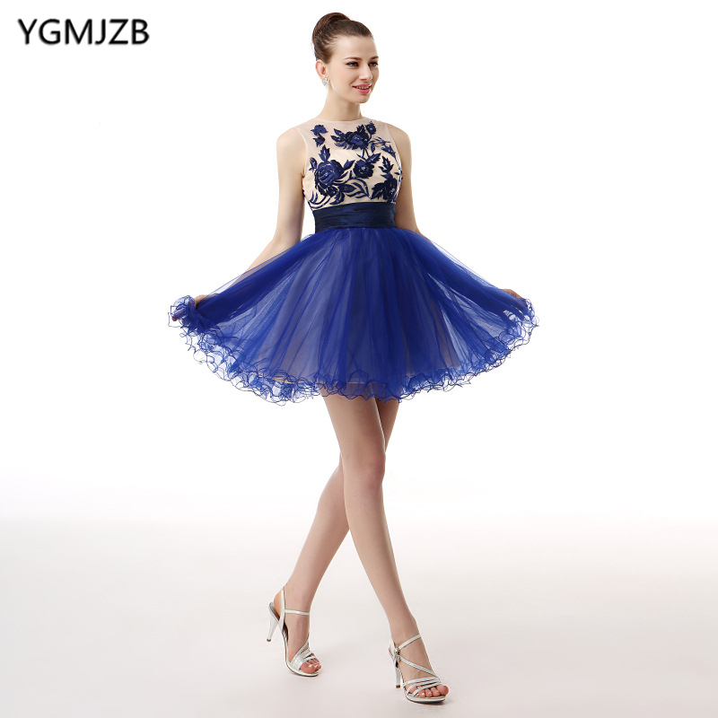 Elegant   Cocktail     Dresses   2018 Beaded Lace Tank Royal blue Short Prom Homecoming   Dresses   Mini Evening Party   Dress