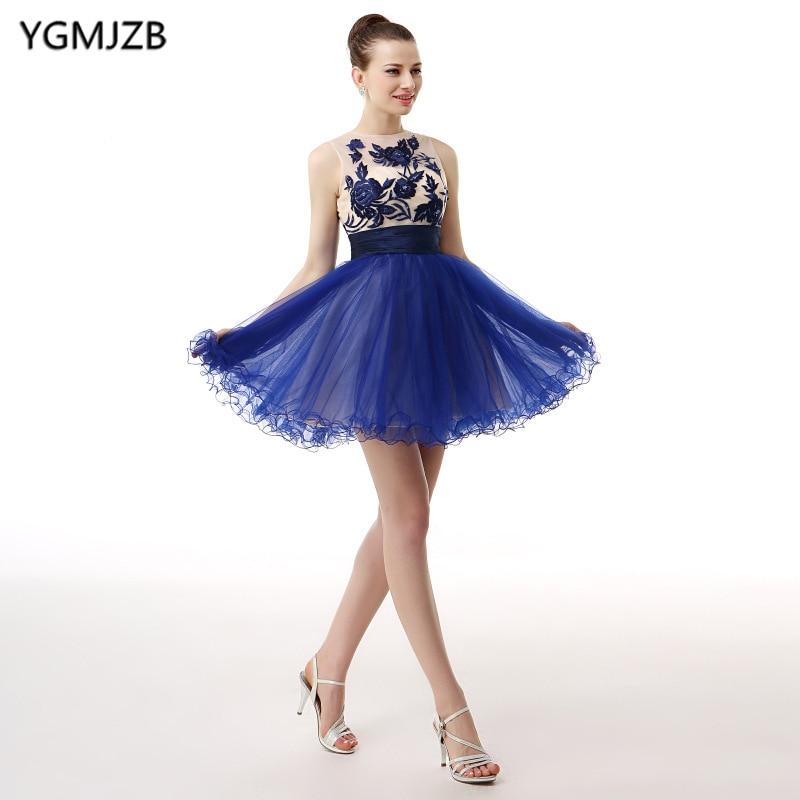 Elegant   Cocktail     Dresses   2019 Beaded Lace Tank Royal blue Short Prom Homecoming   Dresses   Mini Evening Party   Dress