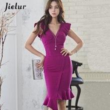 Jielur vestido feminino assimétrico, vestido feminino gola em v irregular coreano kpop vestidos de fiesta roxo verão 2020