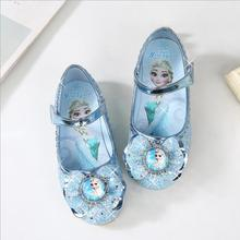 Children Leather Shoes Sandals Girls Princess Summer Elsa Shoes Enfants Sandals Party Anna Wedding Crystal Shoes цены онлайн