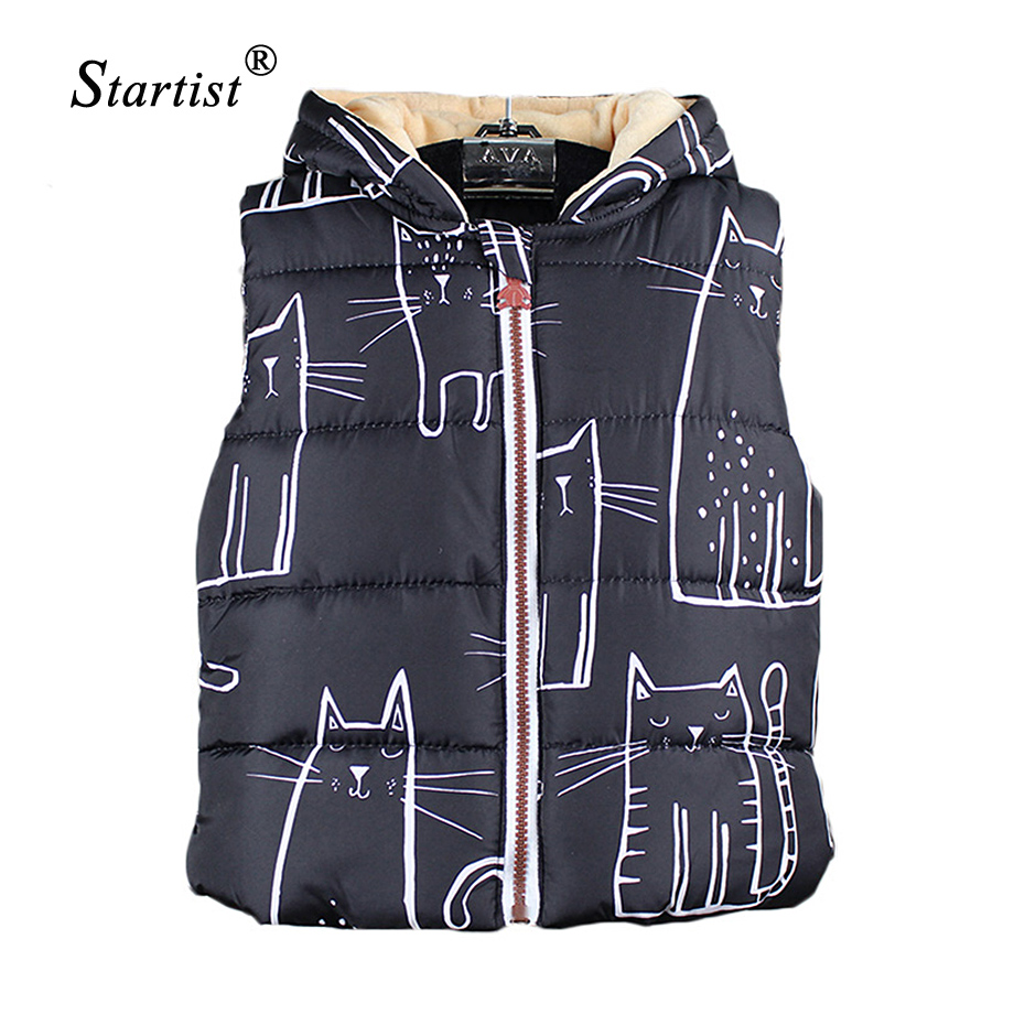 Children Unisex Vests Warm 2017 New Fashion Sring Autumn Kids Coats Lovely Cat Print Children Boys Girls Vest Hooded Jacket