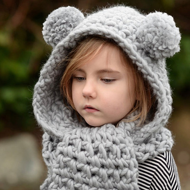 New Arrival Winter Hat Kids Crochet Hooded Cowl Hat Scarf Set Cute Pompoms  Beanies for Girls 4e8ad154f22