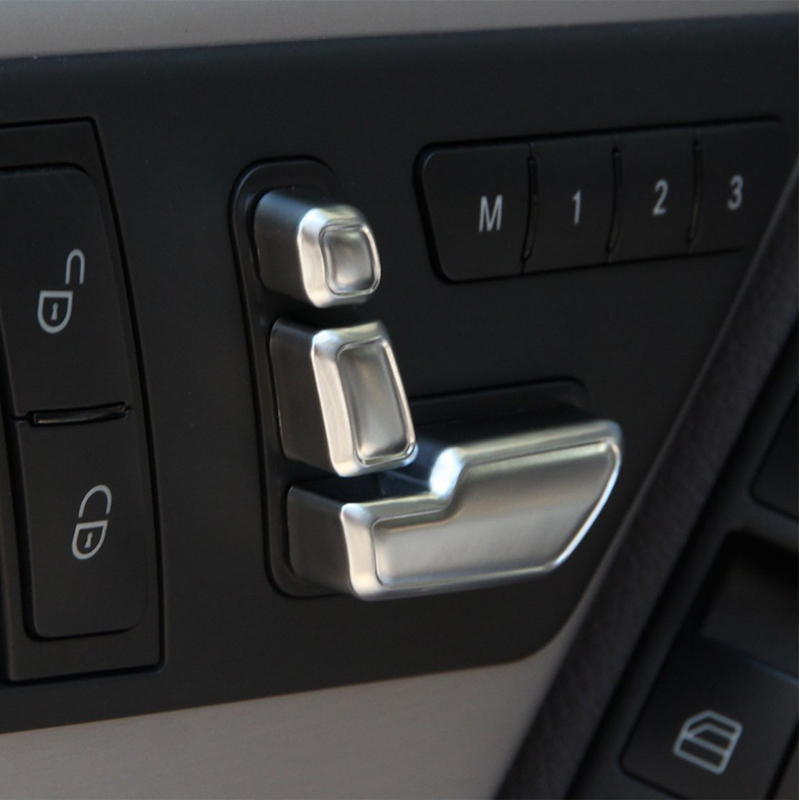 6Pcs/Set Car Stickers Chrome Door Seat Adjust Buttons Switch For Mercedes Benz E200 E300 E350 C200 C300 C350 for mercedes benz c200 e260 e300 a s series ml350 glk brand leather car seat cover front and back complete set car cushion cover