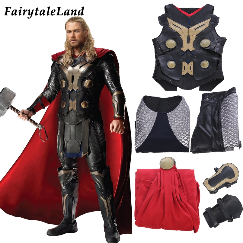 Thor Odinson Cosplay Costume Halloween Superhero Costume Avengers Thor 2 Outfit Cosplay Accessories Armor Vest Cloak Clothing