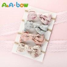 4pcs/lot Printed Bow Hair Band Nylon Headband for Baby Girls Kid Elastic Head Wrap Cute Headwear Baby Hair Accessories