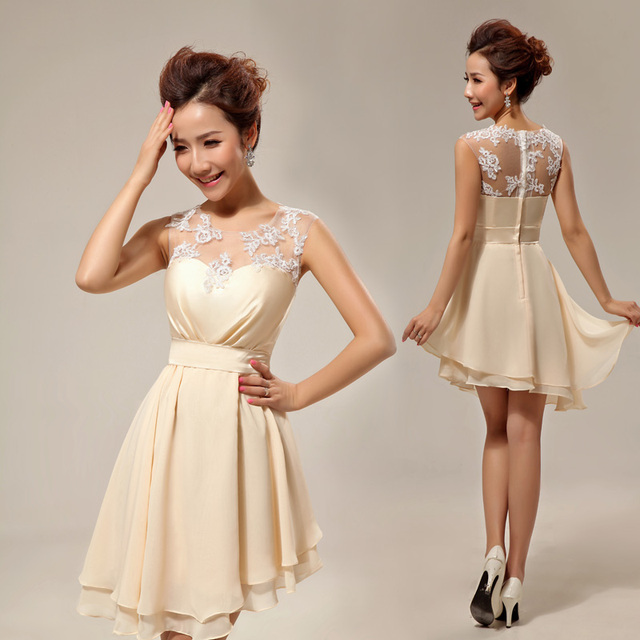 Champagne colored lace dress