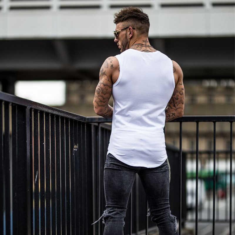 GYMOHYEAH חדש קיץ אופנה חדרי כושר גופייה חור פיתוח גוף סטרינגר גופייה גברים כושר וסטים חבר 'ה שרירים שרוולים אפוד
