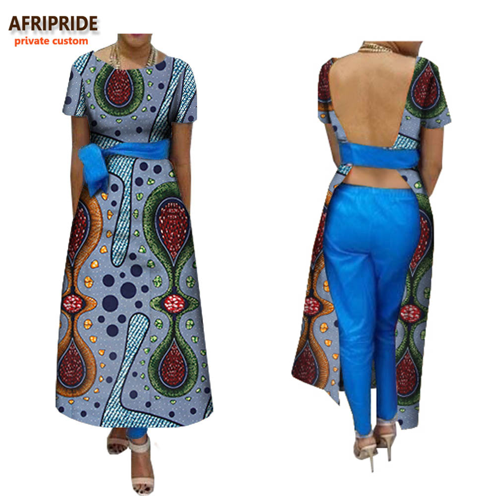 2018 african style spring suit for women AFRIPRIDE short sleeve ankle length backless dress+ankle pants sexy A722674