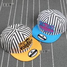 New York Kids Cotton Caps Striped Boys Baseball Caps Summer Hats Children Caps Girls Baseball