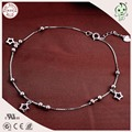 High Quality Popular Beautiful 925 Real Silver Box Anklet Chain With Star Pendant