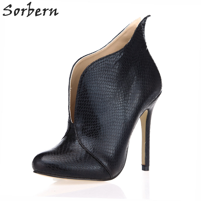Sorbern Black Fetish Sexy Women Shoes Boots Ankle High Stilettos 2018 New Women Shoes Custom Colors Slip On Heel Shoes Women new arrival women sky blue high heel slip on sexy stilettos white cloud decoration cute bride shoes wedding women stilettos pump