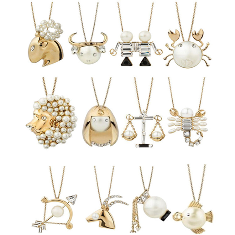 Zodiac Sign Gold Medallion Chain Necklaces 12 Variants: Trusta 2017 New Hot Women Fashion Jewelry Gold Tone 12