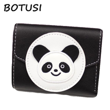 купить BOTUSI Handwork Embroidery Panda PU Leather Purse Wallet ID Credit Card Holder Clutch Bifold Coin Pockets Money Bag Short Wallet дешево