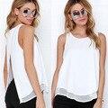 Tanques de verão Mulheres Chiffon Mangas Soltas Sólido Branco Voltar Dividir OL Camisas Tees Tops Casual Blusas regata mulheres QA1089