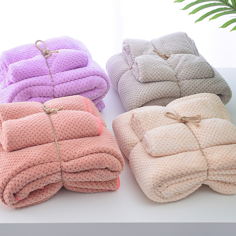 70X140cm 2 Pcs/lot Plaid Fluffy Soft Coral Fleece Super Soft Water Absorbent Bathrobe Baby Bath Towel Kids Beach Blanket