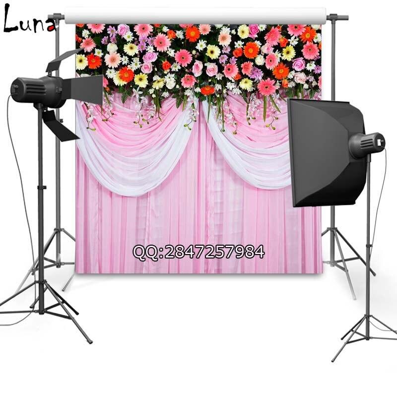 ᗐCortina rosa para la boda de vinilo fotografía Fondos para niños ...