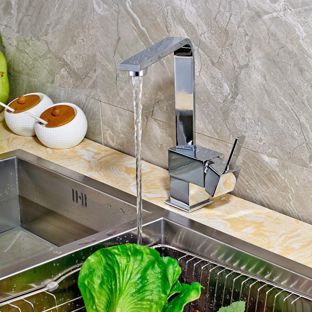 Newly Arrival Polish Chrome Deck Mounted Kitchen Faucet Mixer Tap Single Handle Single Hole Swivel Mixer